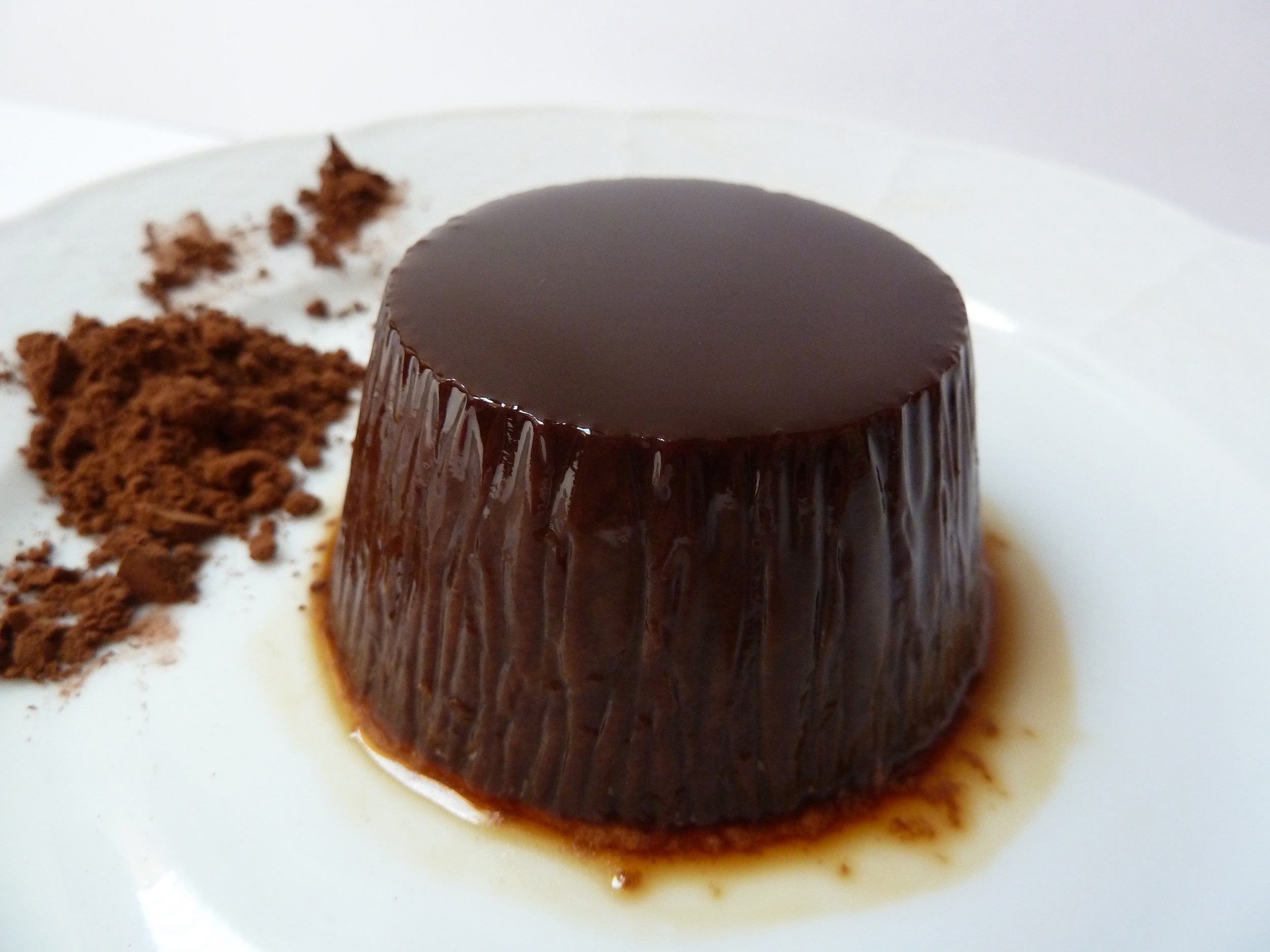 flan con chocolate